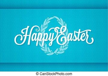 Easter Vintage Lettering. Egg Ornament Background.