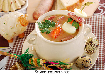 easter white borscht with quail eggs and sausage in rural ...