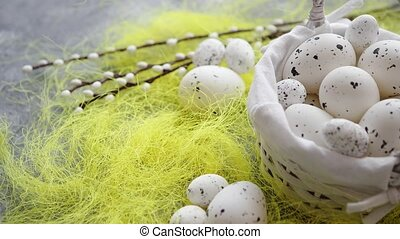 Easter white dotted Eggs in the nest and spring yellow grass...