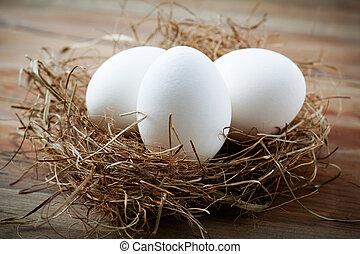 Whitel easter eggs in bird nest on wooden table