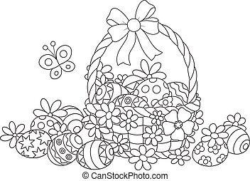 Decorated basket with painted eggs, a bow and flowers