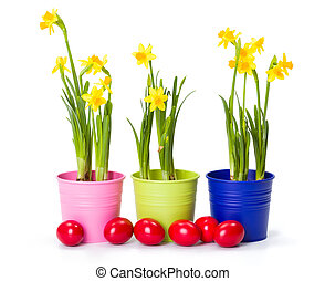 Easter with daffodils and painted eggs