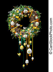 Easter wreath isolated on black background