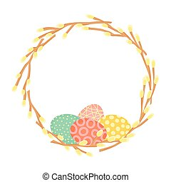 Easter wreath made of willow branches and painted eggs. Festive frame in vector