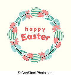 Easter wreath of painted eggs, flowers, tulips, and willow in blue and coral colours. Isolated on white background.