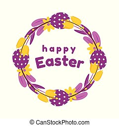 Easter wreath of painted eggs, flowers, tulips, and willow in yellow and purple colours. Isolated on white background.