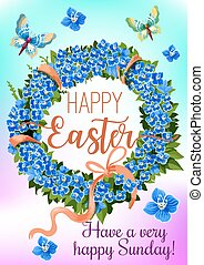 Easter wreath of spring flowers greeting card