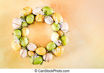 Easter Wreath On Yellow Orange Background
