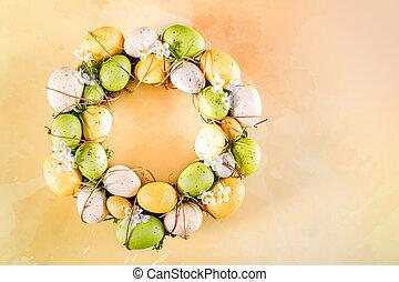 Easter Wreath On Yellow Orange Background