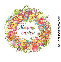 Easter wreath with colorful flowers
