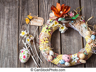 Easter wreath with decor