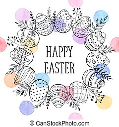 Easter Wreath Vector Illustration