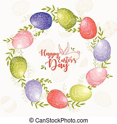 Easter wreath with Easter eggs in sweet colorful