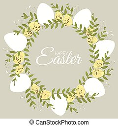Easter wreath with floral elements and quail hen eggs