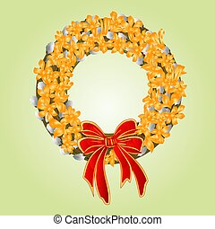 Easter wreath with pussy willow and forsythia spring background vector illustration