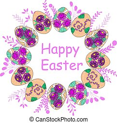 Easter wreath with painted Easter eggs on a white background.