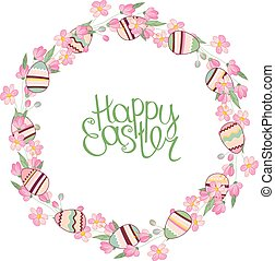 Easter wreath with stylized blossoming branches and eggs isolated on white.