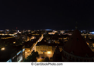 Eastern aerial view of szeged at night - Eastern aerial view...