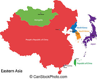 Eastern Asia map - Color map of Eastern Asia divided by the ...