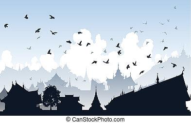 Eastern bird city - Editable vector illustration of birds...