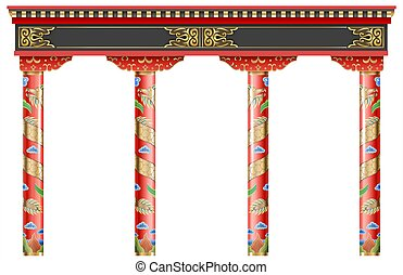 Eastern chinese arch. Carved red gold columns