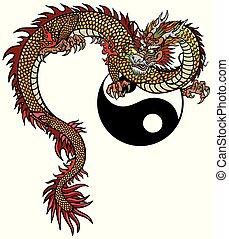 Eastern dragon and Yin Yang symbol