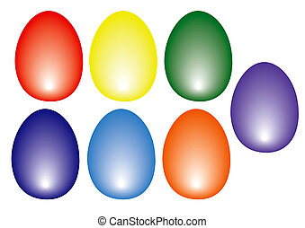 Eastern Eggs colored on white background