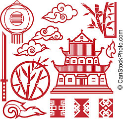 Clip art collection of red asian style elements