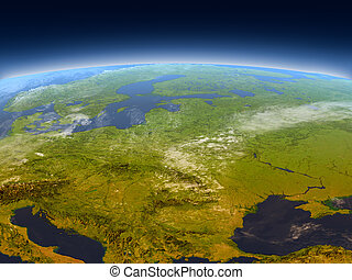Eastern Europe from Earth's orbit in space. 3D illustration with detailed planet surface, mountains and atmosphere. Elements of this image furnished by NASA.