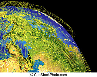 Eastern Europe from space with country borders and trajectories representing global communication, travel, connections. 3D illustration. Elements of this image furnished by NASA.