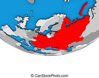 Eastern Europe on 3D globe