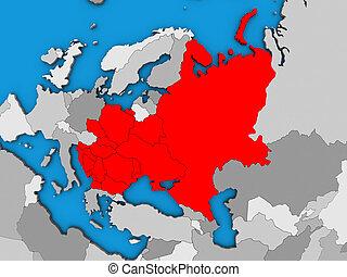 Eastern Europe on blue political 3D globe. 3D illustration.