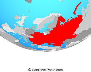 Eastern Europe on globe