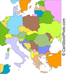 Eastern Europe Regional Map with individual Countries, Cities, Capitals, Editable Color. Countries are individual objects that can be colored and changed so you can build a regional territory map or develop an illustration. Great for building sales and marketing territory maps, illustrations, web ...