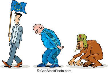 Eastern european evolution - Humorous illustration of...
