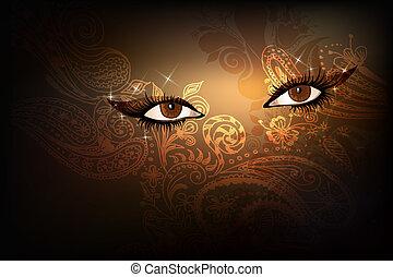 Eastern eyes - Dark background with beautiful brown eastern ...