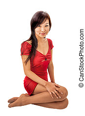 Eastern girl in a red dress