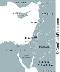 Eastern Mediterranean countries political map