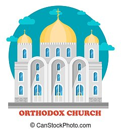 Eastern orthodox christian church with domes. Christianity...