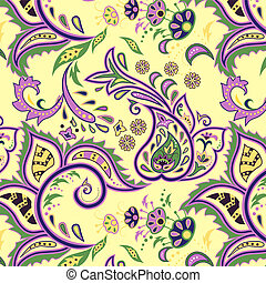 Eastern patterns seamless - Colorful light yellow seamless...