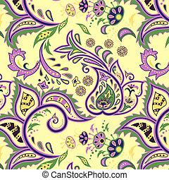 Eastern patterns seamless - Colorful light yellow seamless...