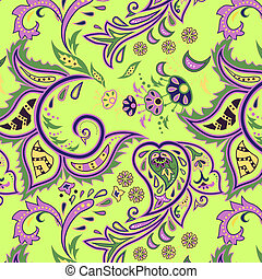 Eastern patterns seamless green - Colorful seamless with...