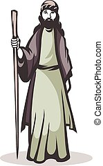 Eastern pilgrim - Vector illustration of a pilgrim on a...