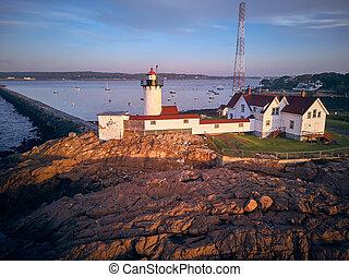 Lighthouse at sunrise in Gloucester, Massachusetts