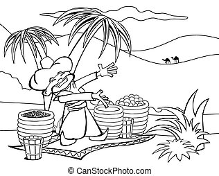 Eastern Seller - The seller sells spices and fruit in the ...