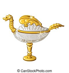 Eastern souvenir in the form of a Golden oil lamp in the shape of a dragon isolated on white background. Vector illustration.
