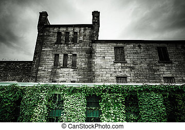 Eastern State Penitentiary - Dark ominous exterior view of...
