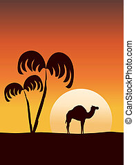 Eastern sunrise with camel silhouette. Vector illustration.