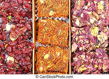 Eastern sweets locum - Arabic sweets with rose dry leaves ...