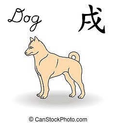 Eastern Zodiac Sign Dog, symbol of New Year in Chinese...